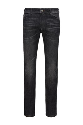 Jeans regular fit in denim nero super elasticizzato, Grigio scuro