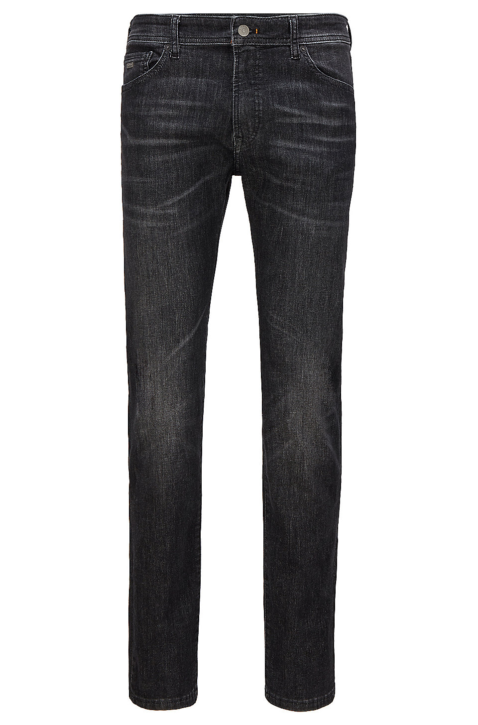 BOSS - Regular-fit jeans in black super-stretch denim