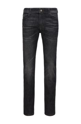 Jeans regular fit in denim nero super elasticizzato, Grigio scuro