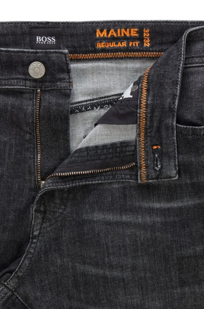 Jeans regular fit in denim nero super elasticizzato