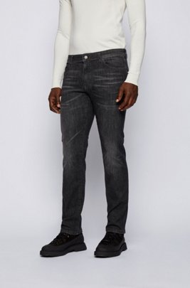 Regular-fit jeans in black super-stretch denim, Dark Grey
