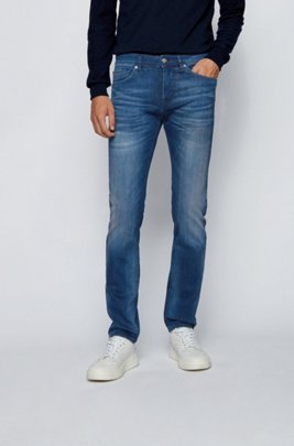 Slim-Fit Jeans aus dunklem Super-Stretch-Denim, Dunkelblau