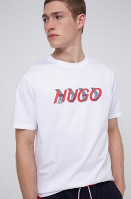 Uniseks T-shirt van katoenen jersey met grote print, Wit