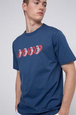 T-shirt mixte en jersey de coton à imprimé placé, Bleu foncé