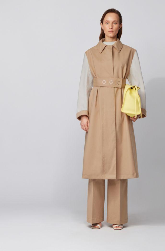 Water-repellent colour-block coat in cotton