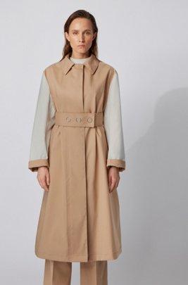 Water-repellent colour-block coat in cotton, Light Brown