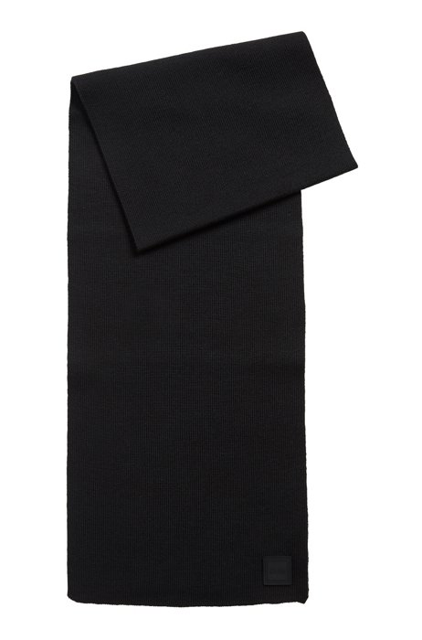 Ribbed-structure scarf with rubberised logo badge, Black