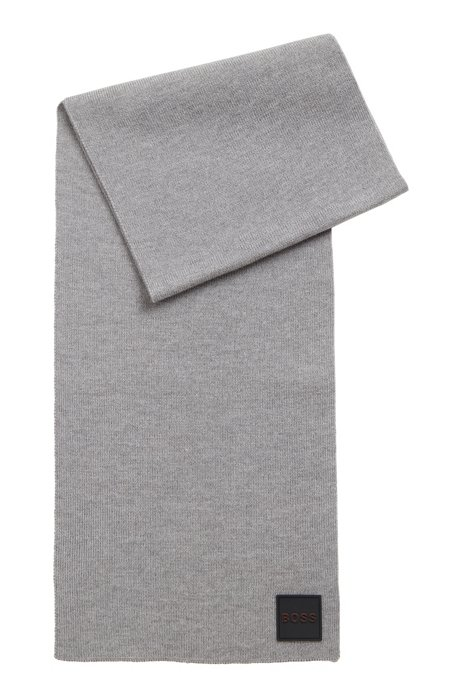 Ribbed-structure scarf with rubberised logo badge, Grey