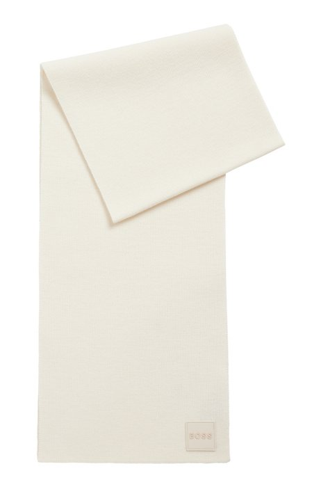 Ribbed-structure scarf with rubberised logo badge, White