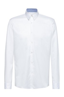 Regular-fit shirt in easy-iron cotton twill, White