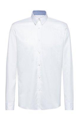 Camicia regular fit in twill di cotone facile da stirare, Bianco