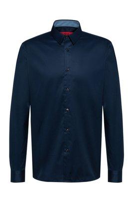 Regular-Fit Hemd aus bügelleichtem Baumwoll-Twill, Dunkelblau