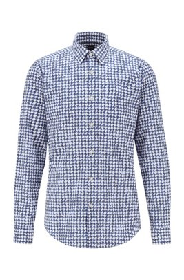 Patterned regular-fit shirt in stretch cotton, Blue Patterned