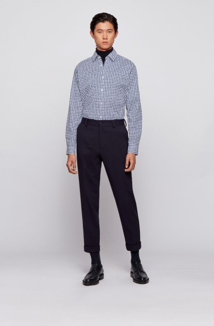 Patterned regular-fit shirt in stretch cotton