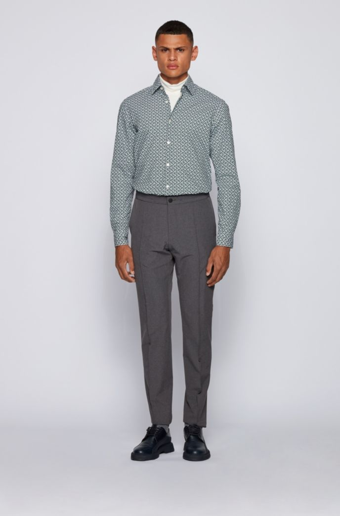 Regular-fit shirt in printed stretch cotton