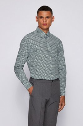 Regular-fit shirt in printed stretch cotton, Light Green