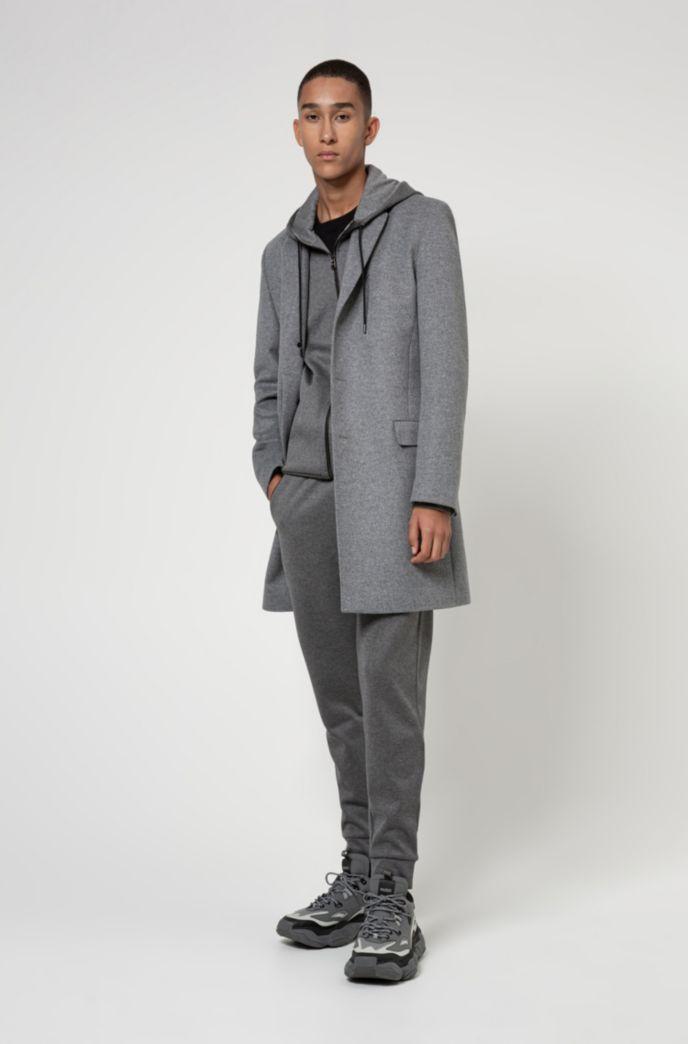 Zip-through hooded sweatshirt in French-rib cotton