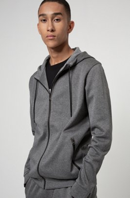 Zip-through hooded sweatshirt in French-rib cotton, Grey