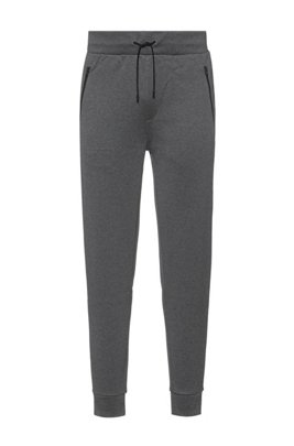 Drawstring jogging trousers in cotton jersey with cuffed hems, Grey