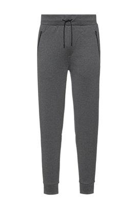 Pantalon de survêtement en jersey de coton avec cordon de serrage et bas de jambes resserrés, Gris