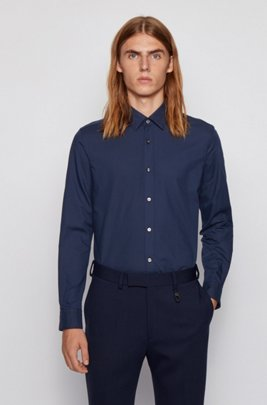 Slim-fit shirt in cotton-blend Oxford, Dark Blue