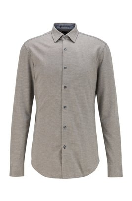 Slim-fit shirt in patterned cotton jersey, Grey