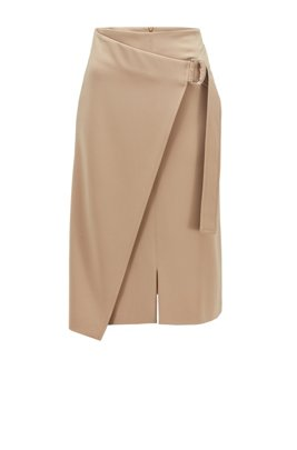 Wrap-front pencil skirt in Japanese crepe, Beige