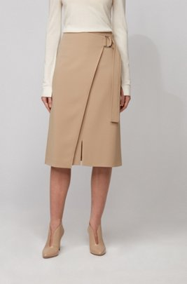 Wrap-front pencil skirt in Japanese crepe, ベージュ