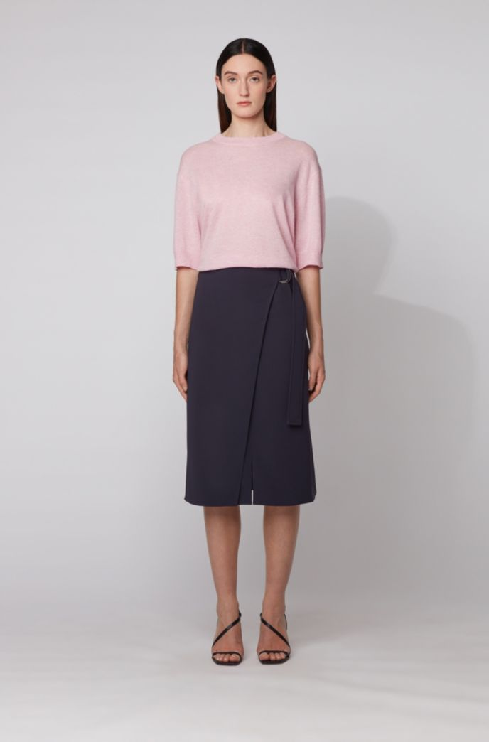 Wrap-front pencil skirt in Japanese crepe
