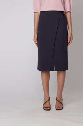 Wrap-front pencil skirt in Japanese crepe, Light Blue