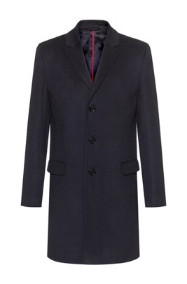 Formal slim-fit coat in pure cashmere, Dark Blue