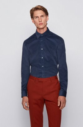 Slim-fit overhemd in corduroy van stretchkatoen, Donkerblauw