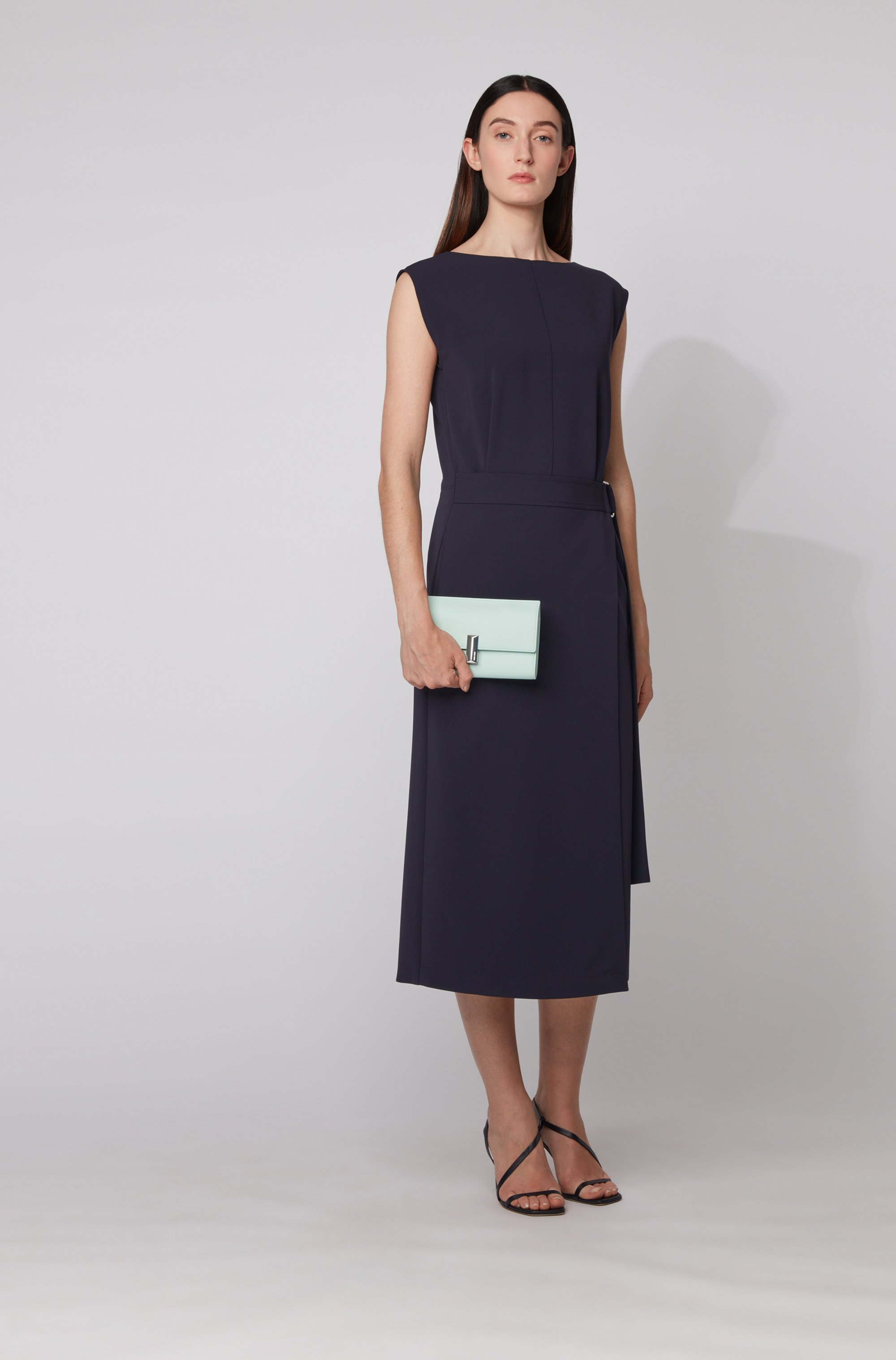 Belted dress in Japanese crepe with pleat front