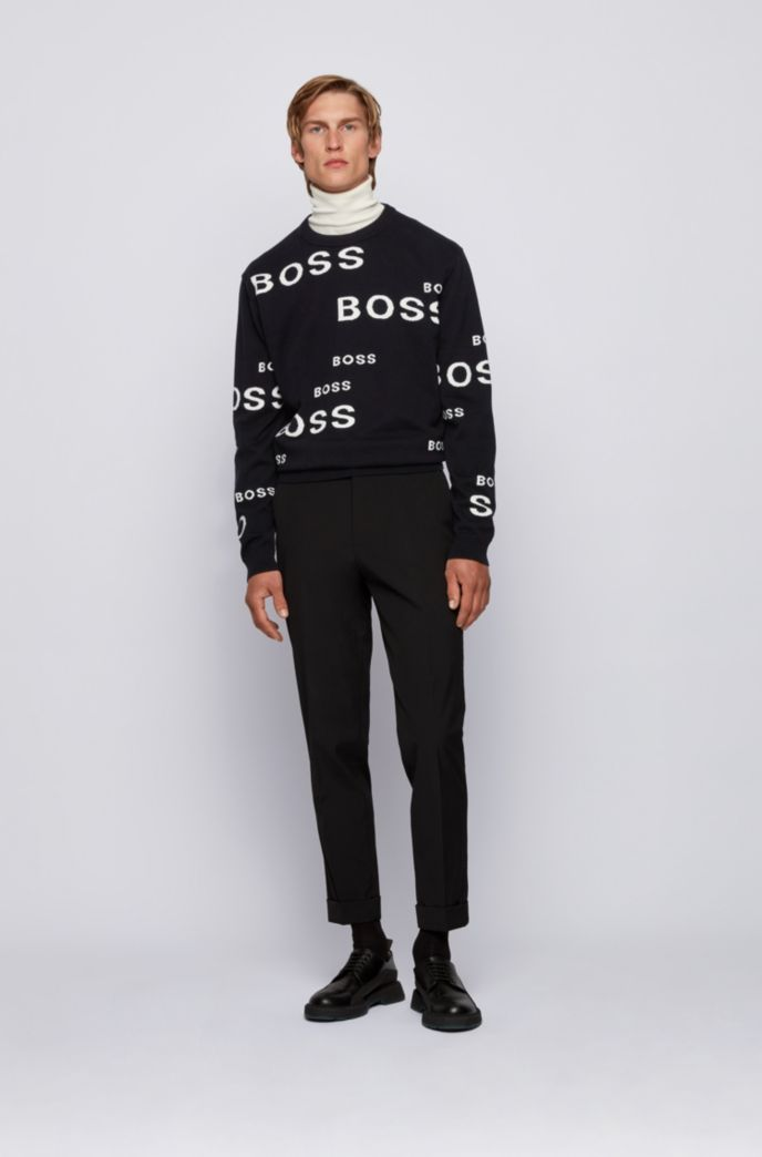 Logo sweater in cotton and virgin wool