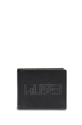 Matte-leather trifold wallet with new-season logo, Black