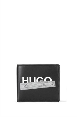 Matte-leather wallet with taped logo artwork, Black