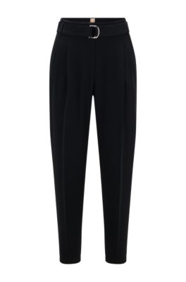 Regular-fit crepe trousers with paper-bag waist, Black