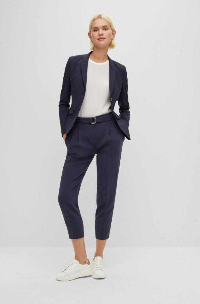 Regular-fit crepe trousers with paper-bag waist
