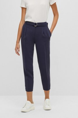Regular-fit crepe trousers with paper-bag waist, Light Blue