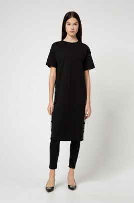 Relaxed-fit dress in organic cotton with logo detailing, Black