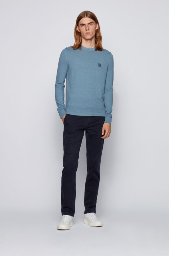 Micro-structured crew-neck sweater in virgin wool