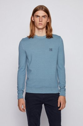 Micro-structured crew-neck sweater in virgin wool, Dark Grey