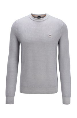 Micro-structured crew-neck sweater in virgin wool, Light Grey