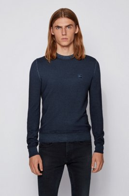 Micro-structured crew-neck sweater in virgin wool, Dark Blue