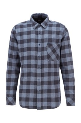 Regular-fit checked shirt in brushed cotton twill, Blue Patterned