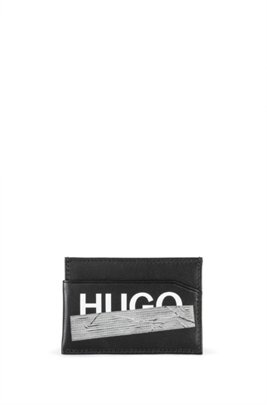 Leather card holder with seasonal logo, Black