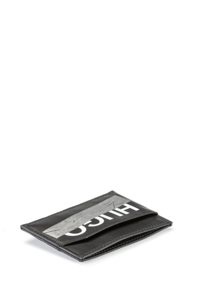 Leather card holder with seasonal logo