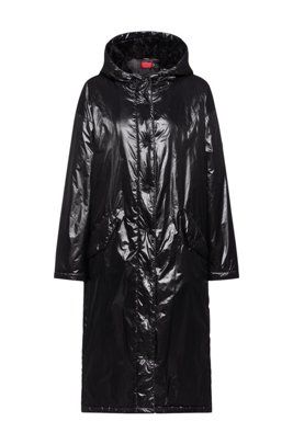 Lightweight parka in recycled material with manifesto artwork, Black