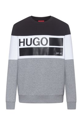 Crew-neck fleece sweatshirt with brand-manifesto print, Silver