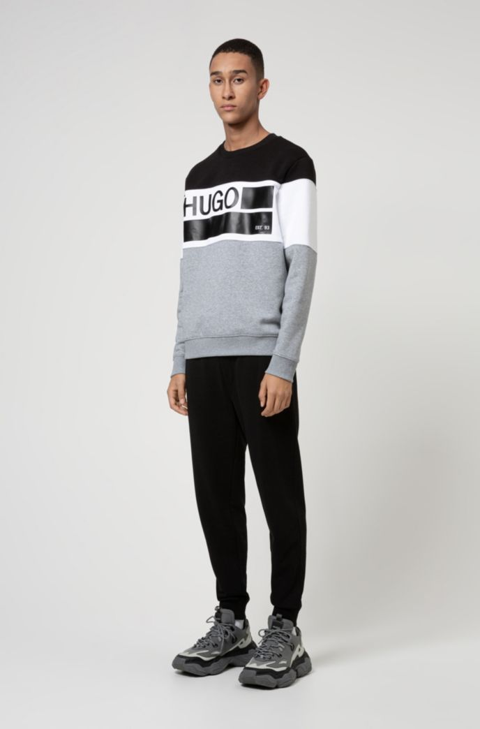 Crew-neck fleece sweatshirt with brand-manifesto print
